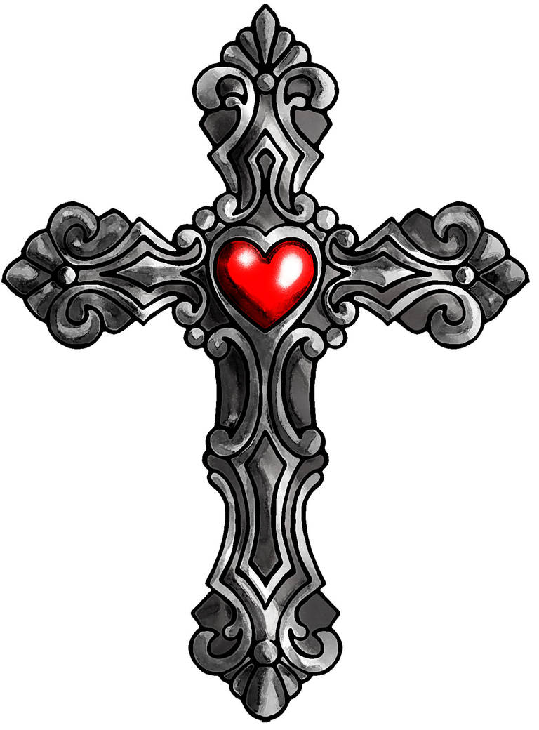 Cross with heart, color by SatiricMilk