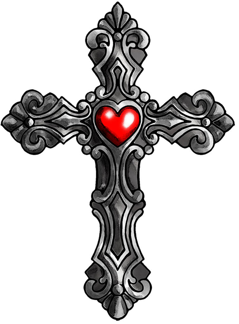 cross with heart color by satiricmilk on deviantart