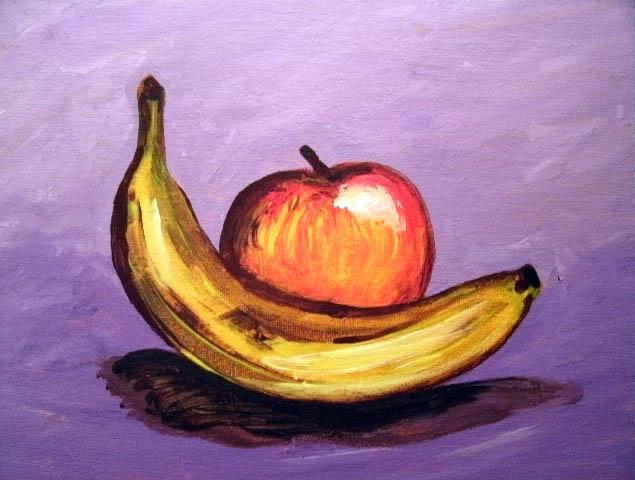 still life: banana and apple by SatiricMilk on DeviantArt