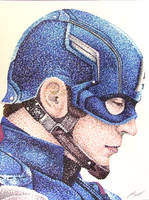 Captain America Pointillism by AnthonyParenti