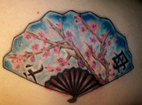 asian fan by tattoos by zip on deviantart. Black Bedroom Furniture Sets. Home Design Ideas