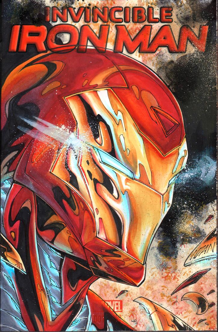 Iron Man commission on a sketchcover by ArtOfIDAN
