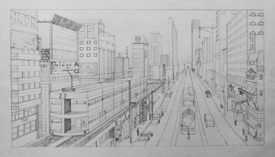 [Perspective Drawing] 1 point cityscape by hahn719 on ...