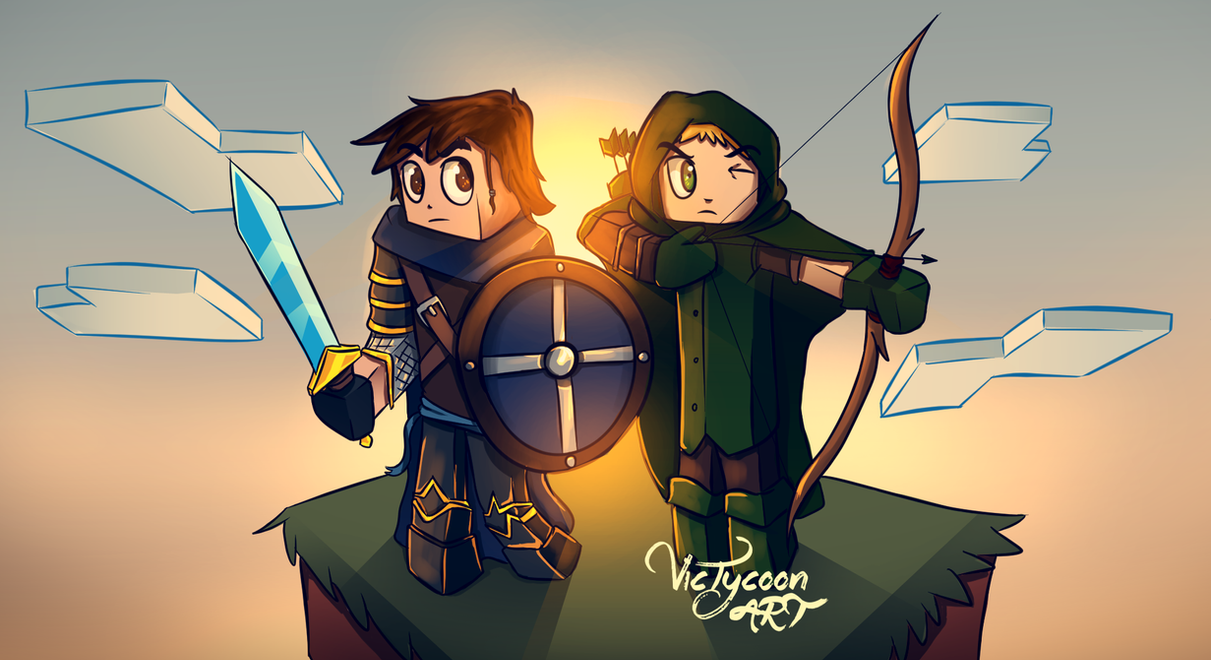 Download Wallpaper Minecraft Terraria - minecraft_wallpaper___warrior_and_archer_by_victycoon-d8teeas  Photograph_526039.png