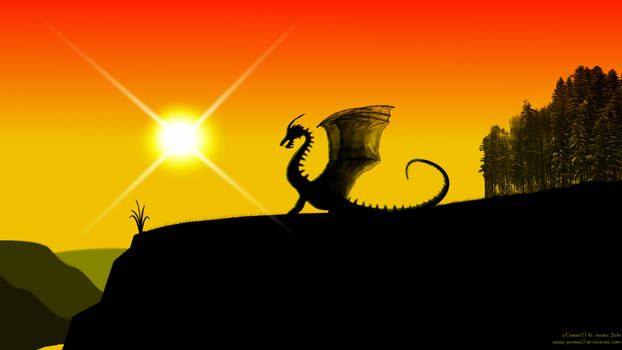 Dragon and sunset -1080p-