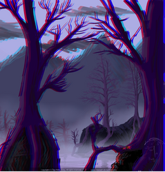 Autumn mists in swamp 3D