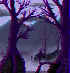 Autumn mists in swamp 3D