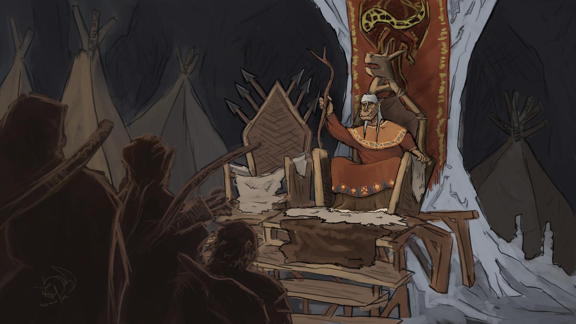 Wurthak Dragonhorn, the orc chieftain by xTernal7