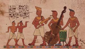 Blue Egyptian back-side art