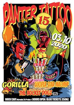 Poster design for Panter Tattoo (Prague) birthday