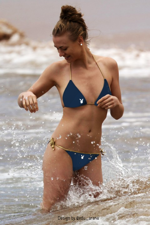 With her thin body and Regular blond hairtype without bra (cup size 32B) on the beach in bikini