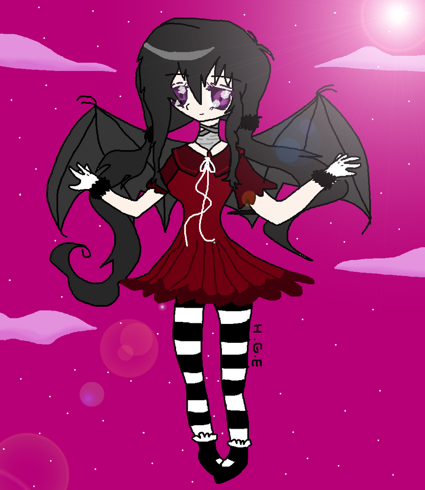 Anime Girl With Bat Wings By IcecreamSoda988
