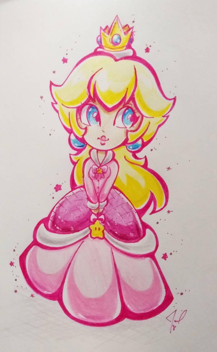 Chibi Princess Peach Winter Traditional art by JamilSC11