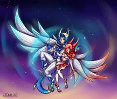 Fan art skin Star Guardian Rakan and  Xayah by JamilSC11
