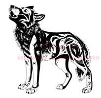 Howling wolf - tattoo design 2 by Velvet-Loz