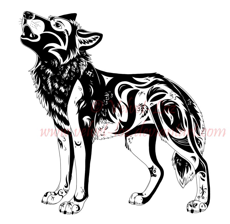 howling wolf tattoo design 2 by velvet loz on deviantart. Black Bedroom Furniture Sets. Home Design Ideas