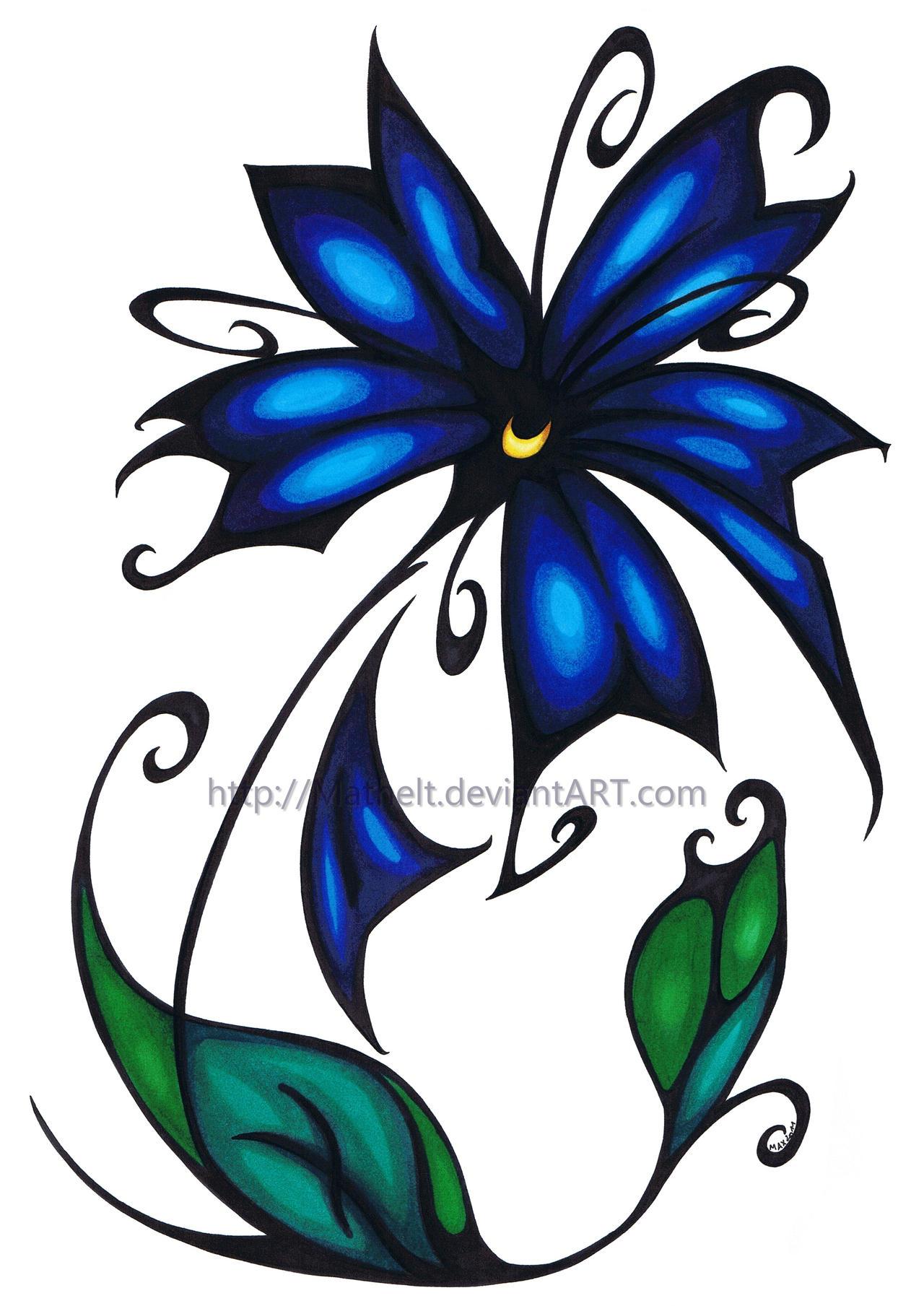 Tribal Flower - Blue by Mathelt