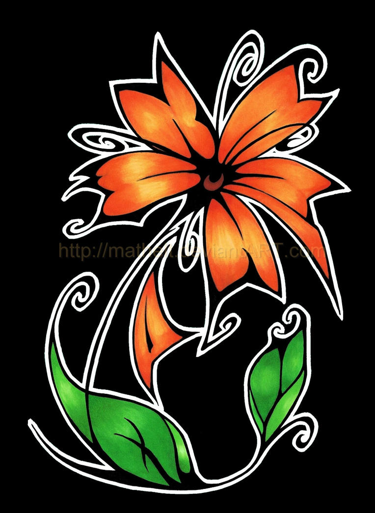 Tribal Flower - Orange by Mathelt
