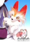 Red Kitsune Plush Doll Close