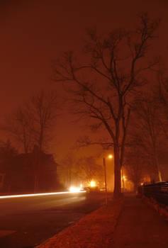 Foggy night - Electric lights