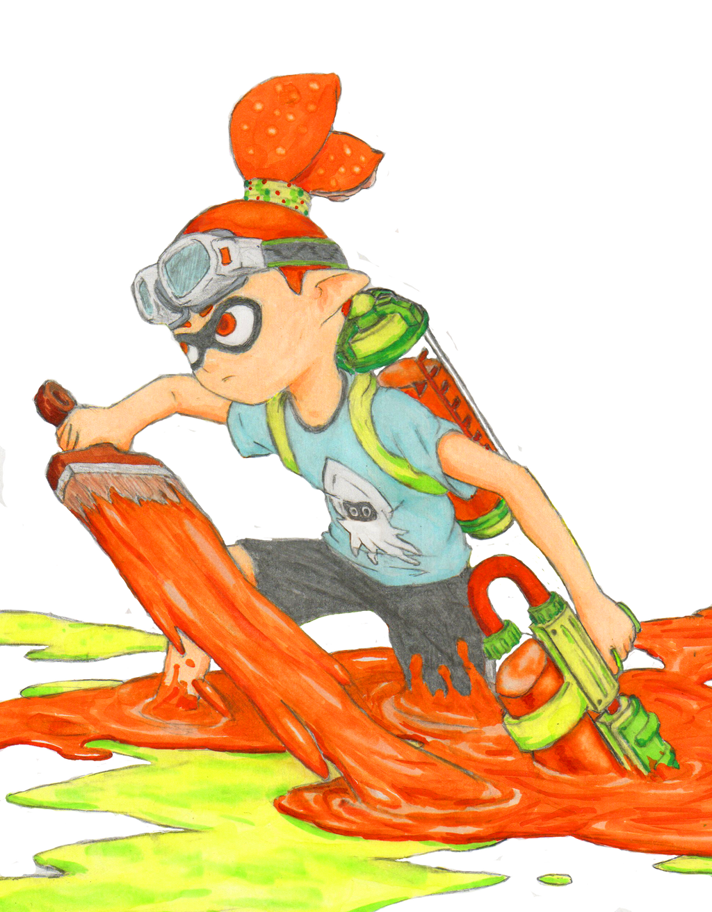 how to draw a splatoon inkling