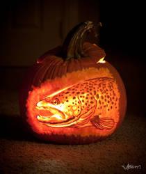 Brown Trout Pumpkin by masonfetzer