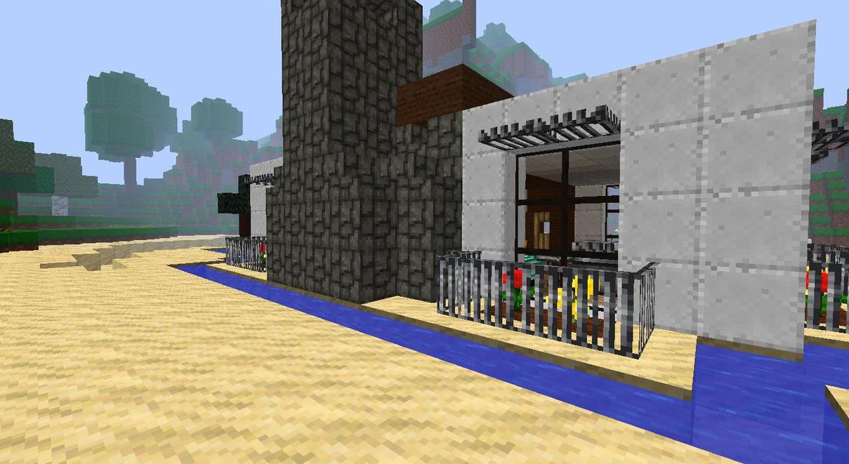 My minecraft beach house backyard by lilgamerboy14 on for Beach house designs minecraft