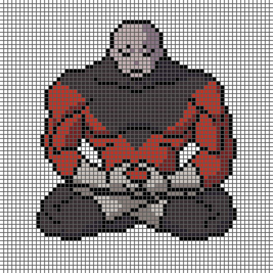 Jiren Meditating Pixelart With Grid By Sk0p3r On Deviantart