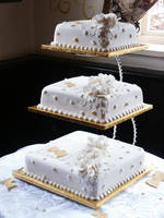 White and Gold Wedding Cake by Franbann
