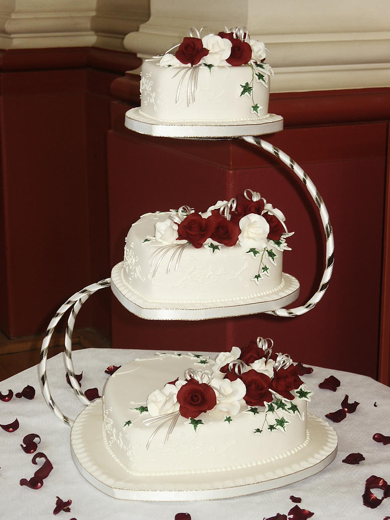 White, Burgundy Wedding Cake by Franbann on DeviantArt