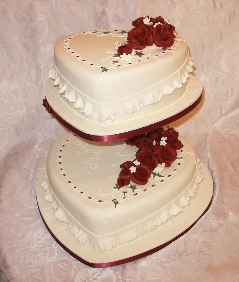 Two Heart Cake Images : Heart-Shaped Wedding Cake by Franbann on DeviantArt