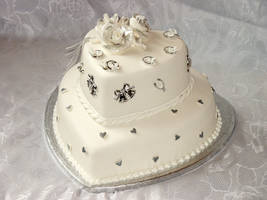 Silver and White Wedding Cake by Franbann