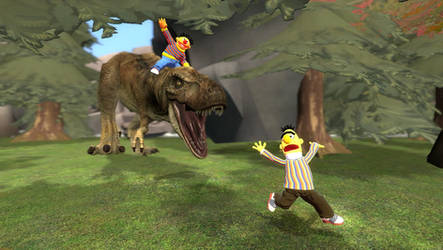 Bert and Ernie: Going Prehistoric by Luigimariogmod