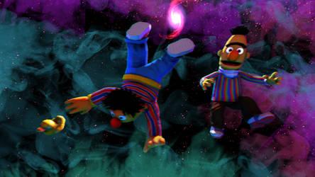 Bert and Ernie in space by Luigimariogmod