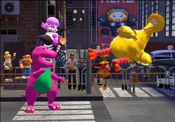 Barney vs Big bird by Luigimariogmod