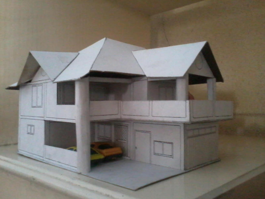 Model of our house in cardboard by ferdz30 on deviantart for How to make a house from cardboard box