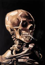 Skull of a Skeleton with Burning Cigarette by memougler