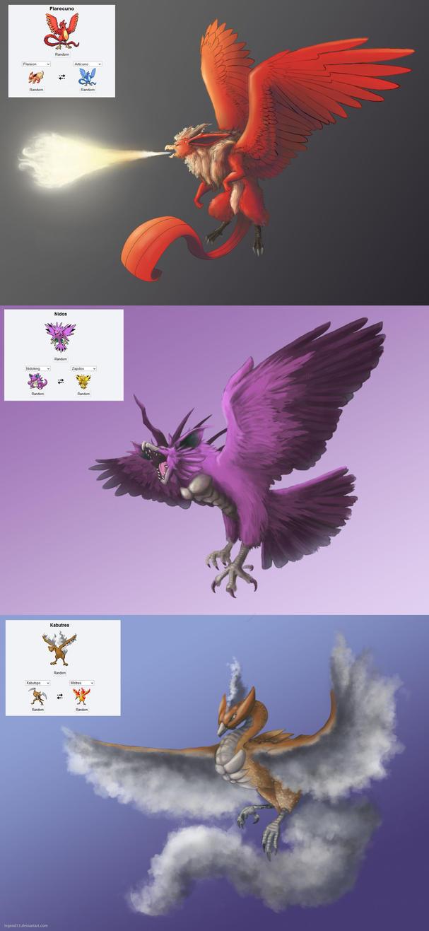 Pokemon Fusions: Kanto Legendary Birds by Legend13 on ...