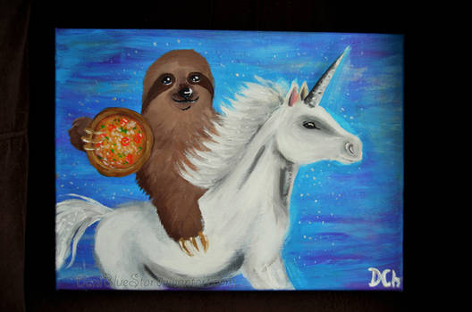 Sloth holding a pizza while riding a unicorn