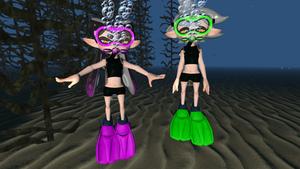 Squid Sisters Underwater Scuba Diving by ElZeldero2004