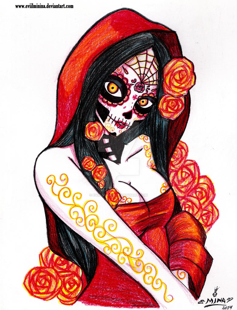 La Catrina in Red by EviilMinina