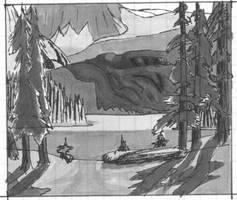 MountainLakeSceneBW by DubiousLogik