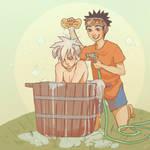 Summertime Puppy Bath