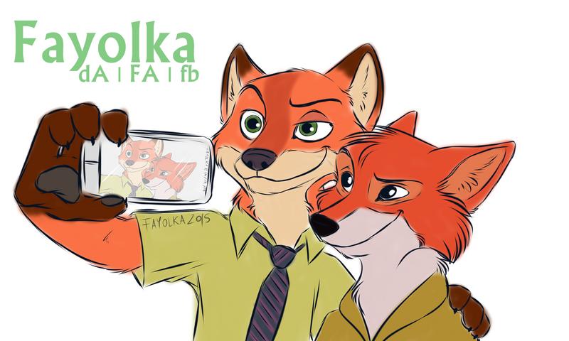 Nick Wilde and Robin Hood - Selfie by Fayolka