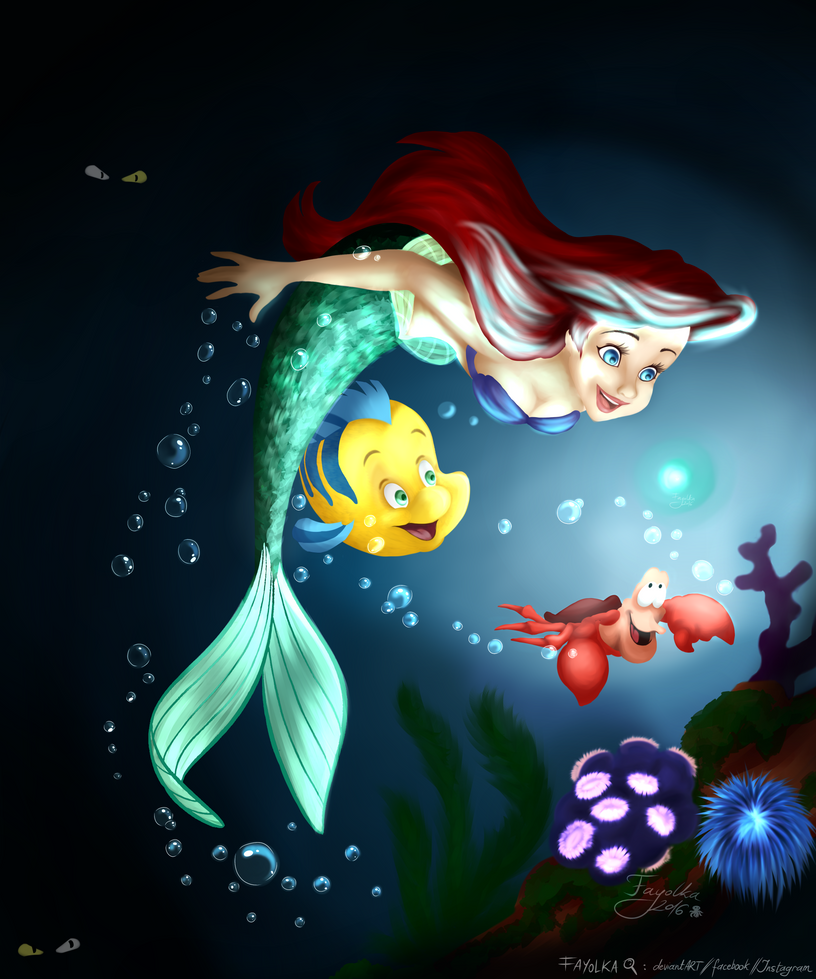 Disney under the sea coloring pages - Under The Sea Disney Coloring Page Challenge By Fayolka