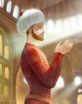 Mehmed el-Fatih the Conqueror in Hagia Sophia