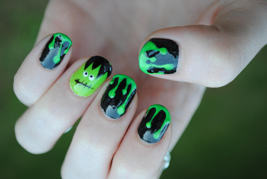 Green Slime And Frankenstein Nail Art By Dancingmelons97 On Deviantart