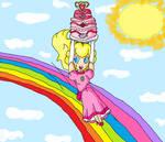rainbow slide with cake