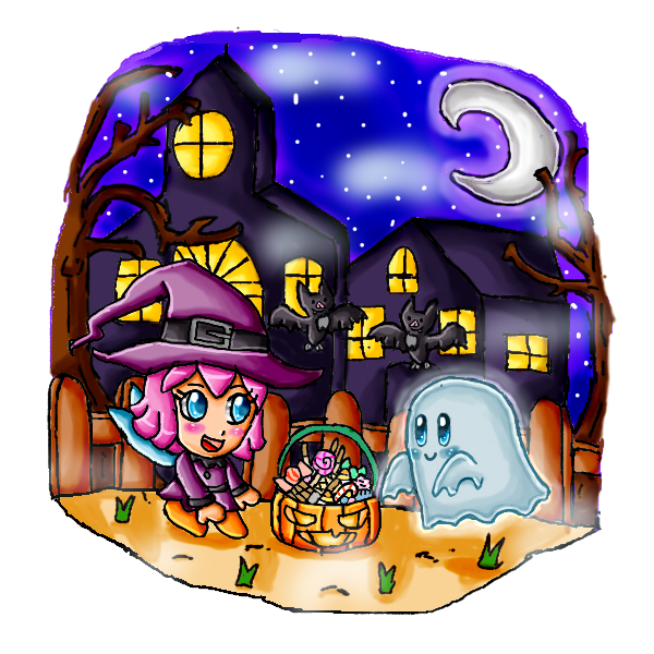 Halloween night with kirby and ribbon by babyblisblink
