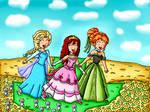 kairi, anna and elsa in the flower field